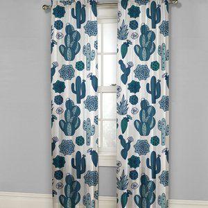 MAINSTAYS Scottsdale Cactus Curtains 2 Panels NWT
